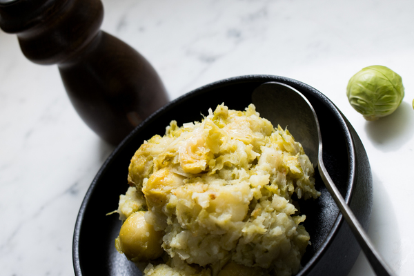 Crushed potatoes and Brussels sprouts